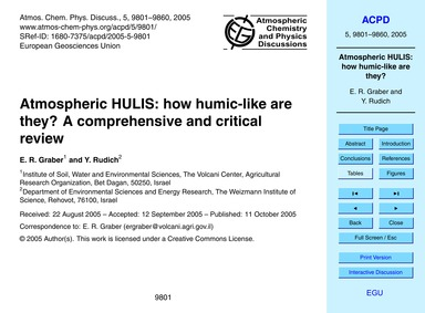 Atmospheric Hulis: How Humic-like Are Th... by Graber, E. R.