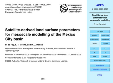 Satellite-derived Land Surface Parameter... by De Foy, B.