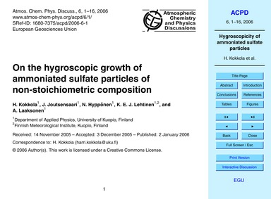 On the Hygroscopic Growth of Ammoniated ... by Kokkola, H.