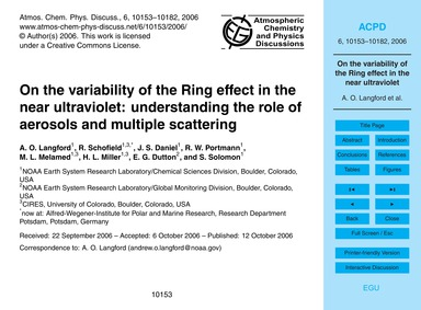 On the Variability of the Ring Effect in... by Langford, A. O.
