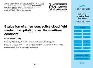 Evaluation of a New Convective Cloud Fie... by Graf, H.-f.
