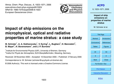 Impact of Ship Emissions on the Microphy... by Schreier, M.