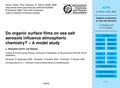 Do Organic Surface Films on Sea Salt Aer... by Smoydzin, L.