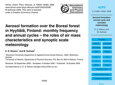 Aerosol Formation Over the Boreal Forest... by Nilsson, E. D.