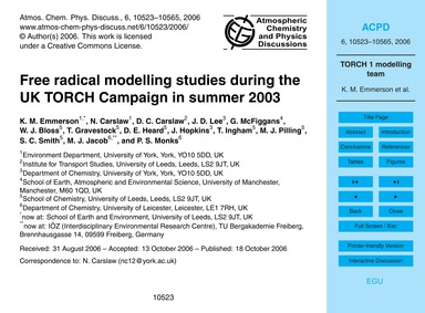 Free Radical Modelling Studies During th... by Emmerson, K. M.