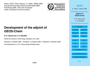 Development of the Adjoint of Geos-chem ... by Henze, D. K.
