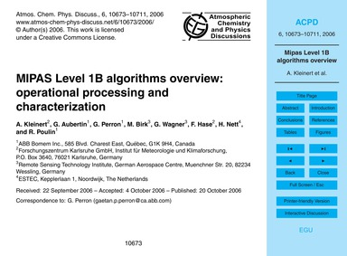 Mipas Level 1B Algorithms Overview: Oper... by Kleinert, A.