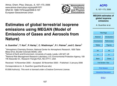 Estimates of Global Terrestrial Isoprene... by Guenther, A.