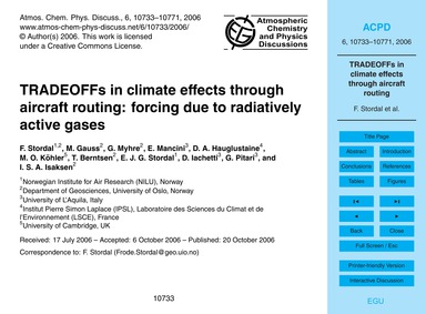 Tradeoffs in Climate Effects Through Air... by Stordal, F.