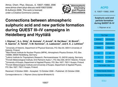Connections Between Atmospheric Sulphuri... by Riipinen, I.