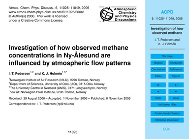 Investigation of How Observed Methane Co... by Pedersen, I. T.