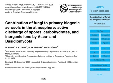 Contribution of Fungi to Primary Biogeni... by Elbert, W.