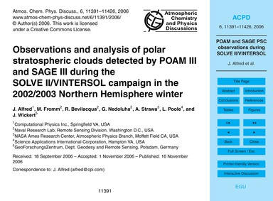 Observations and Analysis of Polar Strat... by Alfred, J.