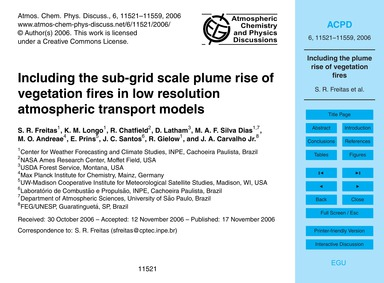 Including the Sub-grid Scale Plume Rise ... by Freitas, S. R.