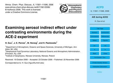 Examining Aerosol Indirect Effect Under ... by Guo, H.