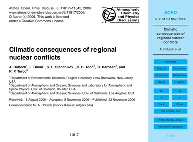 Climatic Consequences of Regional Nuclea... by Robock, A.