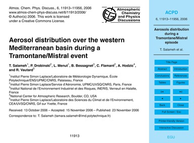 Aerosol Distribution Over the Western Me... by Salameh, T.