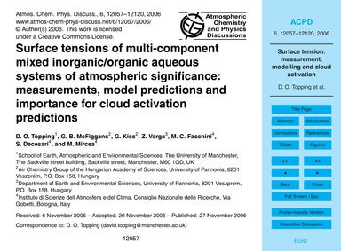 Surface Tensions of Multi-component Mixe... by Topping, D. O.