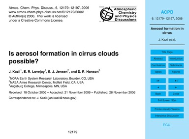 Is Aerosol Formation in Cirrus Clouds Po... by Kazil, J.