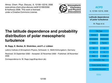 The Latitude Dependence and Probability ... by Rapp, M.