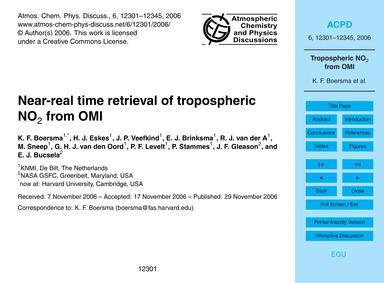 Near-real Time Retrieval of Tropospheric... by Boersma, K. F.