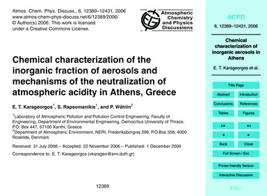 Chemical Characterization of the Inorgan... by Karageorgos, E. T.