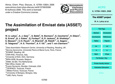 The Assimilation of Envisat Data (Asset)... by Lahoz, W. A.