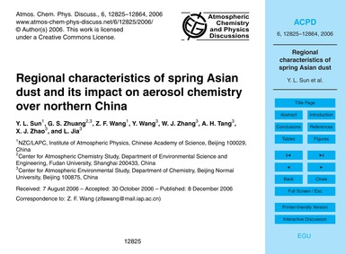 Regional Characteristics of Spring Asian... by Sun, Y. L.