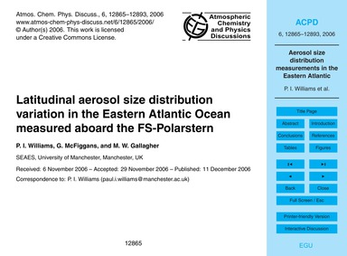 Latitudinal Aerosol Size Distribution Va... by Williams, P. I.