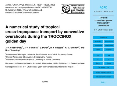 A Numerical Study of Tropical Cross-trop... by Chaboureau, J.-p.