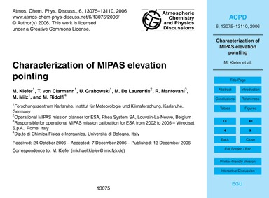 Characterization of Mipas Elevation Poin... by Kiefer, M.
