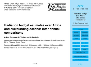 Radiation Budget Estimates Over Africa a... by Ben Rehouma, A.