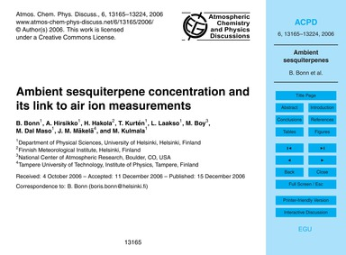 Ambient Sesquiterpene Concentration and ... by Bonn, B.