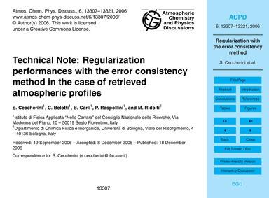 Technical Note: Regularization Performan... by Ceccherini, S.
