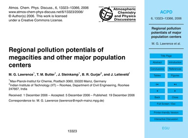 Regional Pollution Potentials of Megacit... by Lawrence, M. G.