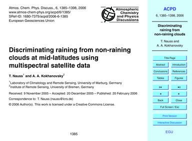 Discriminating Raining from Non-raining ... by Nauss, T.