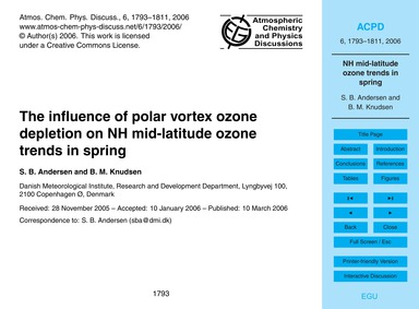 The Influence of Polar Vortex Ozone Depl... by Andersen, S. B.