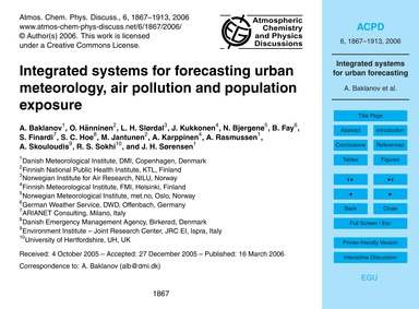 Integrated Systems for Forecasting Urban... by Baklanov, A.