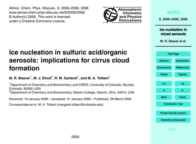 Ice Nucleation in Sulfuric Acid/Organic ... by Beaver, M. R.