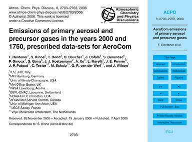 Emissions of Primary Aerosol and Precurs... by Dentener, F.