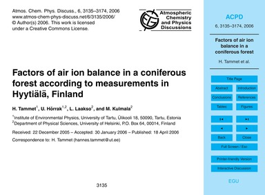 Factors of Air Ion Balance in a Conifero... by Tammet, H.
