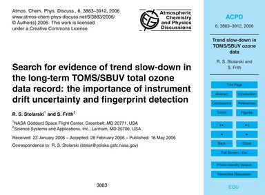 Search for Evidence of Trend Slow-down i... by Stolarski, R. S.