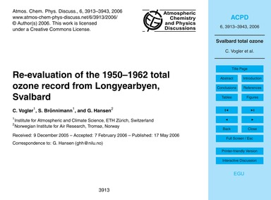 Re-evaluation of the 1950–1962 Total Ozo... by Vogler, C.