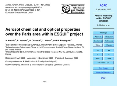 Aerosol Chemical and Optical Properties ... by Hodzic, A.