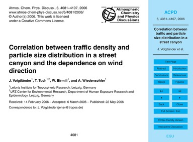 Correlation Between Traffic Density and ... by Voigtländer, J.