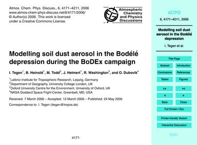 Modelling Soil Dust Aerosol in the Bodél... by Tegen, I.