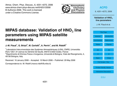 Mipas Database: Validation of Hno3 Line ... by Flaud, J.-m.