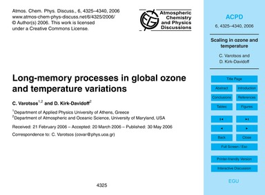 Long-memory Processes in Global Ozone an... by Varotsos, C.