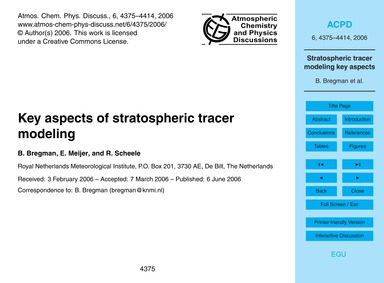 Key Aspects of Stratospheric Tracer Mode... by Bregman, B.