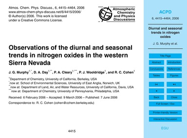Observations of the Diurnal and Seasonal... by Murphy, J. G.
